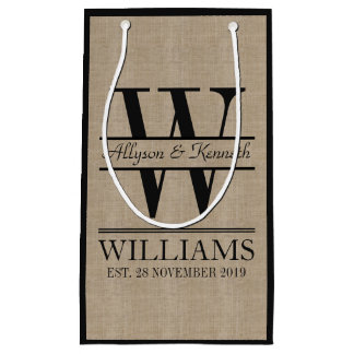 Create Your Own Burlap Logo Anniversary Monogram Small Gift Bag