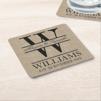 Create Your Own Burlap Logo Anniversary Monogram Square Paper Coaster
