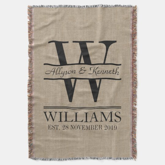 Create Your Own Burlap Logo Anniversary Monogram Throw Blanket