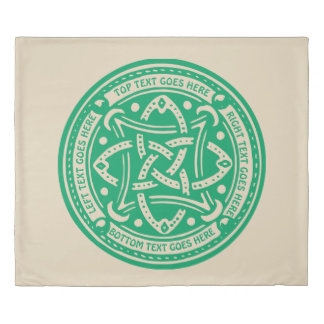 Create Your Own Celtic Knot Shamrock Green Irish Duvet Cover