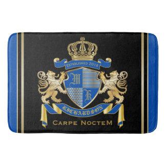 Create Your Own Coat of Arms Blue Gold Lion Emblem Bath Mat