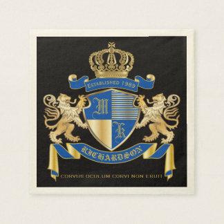 Create Your Own Coat of Arms Blue Gold Lion Emblem Disposable Napkins