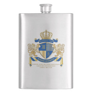 Create Your Own Coat of Arms Blue Gold Lion Emblem Hip Flask