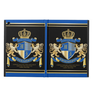Create Your Own Coat of Arms Blue Gold Lion Emblem iPad Air Covers
