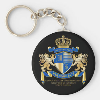 Create Your Own Coat of Arms Blue Gold Lion Emblem Keychain