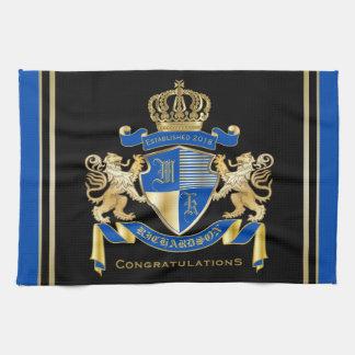 Create Your Own Coat of Arms Blue Gold Lion Emblem Kitchen Towel