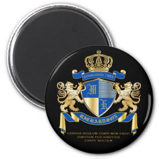 Create Your Own Coat of Arms Blue Gold Lion Emblem Magnet