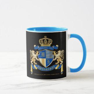 Create Your Own Coat of Arms Blue Gold Lion Emblem Mug