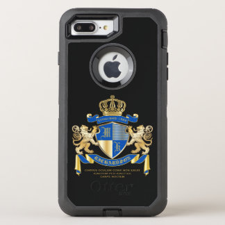 Create Your Own Coat of Arms Blue Gold Lion Emblem OtterBox Defender iPhone 8 Plus/7 Plus Case