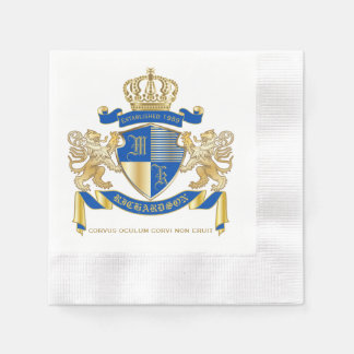 Create Your Own Coat of Arms Blue Gold Lion Emblem Paper Napkins
