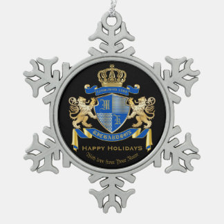 Create Your Own Coat of Arms Blue Gold Lion Emblem Pewter Snowflake Ornament