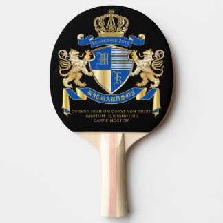 Create Your Own Coat of Arms Blue Gold Lion Emblem Ping Pong Paddle