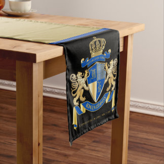 Create Your Own Coat of Arms Blue Gold Lion Emblem Short Table Runner