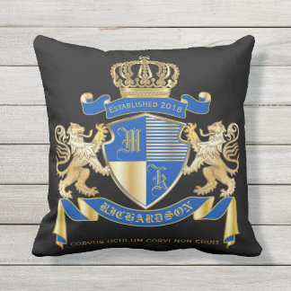Create Your Own Coat of Arms Blue Gold Lion Emblem Throw Pillow