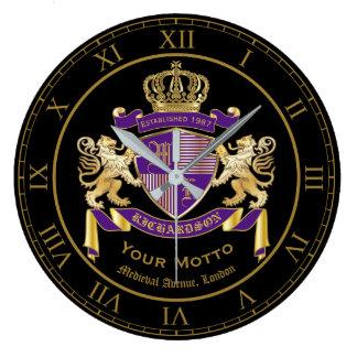 Create Your Own Coat of Arms Monogram Lion Emblem Large Clock