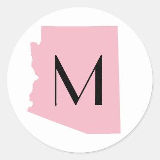 Create Your Own Color Arizona Wedding Monogram Classic Round Sticker