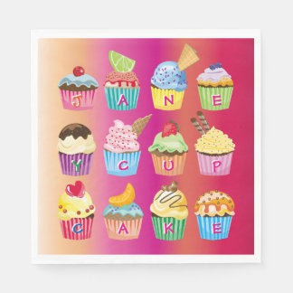 Create Your Own Cupcake Monogram Delicious Treats Disposable Napkins