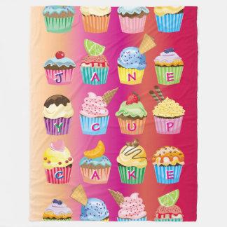Create Your Own Cupcake Monogram Delicious Treats Fleece Blanket