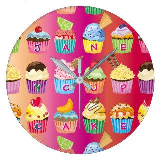 Create Your Own Cupcake Monogram Delicious Treats Large Clock