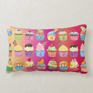 Create Your Own Cupcake Monogram Delicious Treats Lumbar Pillow