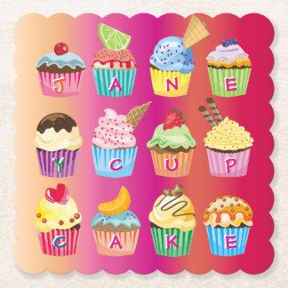 Create Your Own Cupcake Monogram Delicious Treats Paper Coaster