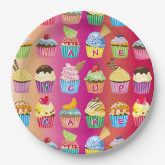 Create Your Own Cupcake Monogram Delicious Treats Paper Plate