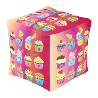 Create Your Own Cupcake Monogram Delicious Treats Pouf