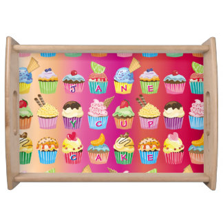 Create Your Own Cupcake Monogram Delicious Treats Serving Tray