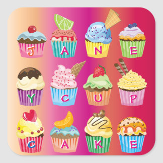 Create Your Own Cupcake Monogram Delicious Treats Square Sticker
