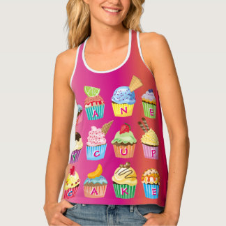 Create Your Own Cupcake Monogram Delicious Treats Tank Top