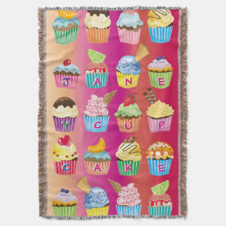 Create Your Own Cupcake Monogram Delicious Treats Throw Blanket