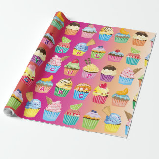 Create Your Own Cupcake Monogram Delicious Treats Wrapping Paper