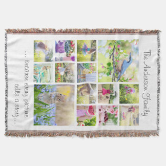 Create Your Own Custom 14 Family Photo Collage Throw Blanket