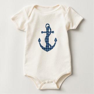 Create your own custom | Plaid tartan blue anchor Baby Bodysuit