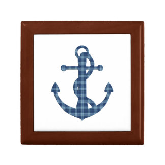 Create your own custom | Plaid tartan blue anchor Gift Box