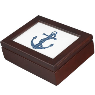 Create your own custom | Plaid tartan blue anchor Keepsake Box