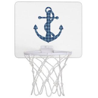 Create your own custom | Plaid tartan blue anchor Mini Basketball Hoop