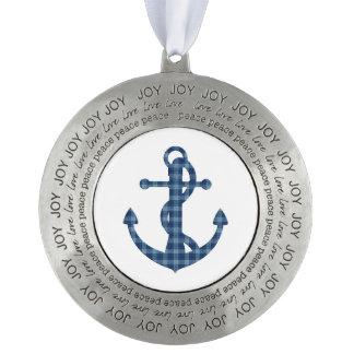 Create your own custom   Plaid tartan blue anchor Pewter Ornament