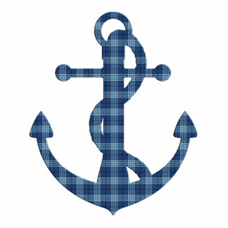 Create your own custom | Plaid tartan blue anchor Photo Sculpture Keychain