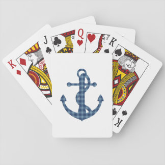 Create your own custom | Plaid tartan blue anchor Playing Cards