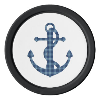 Create your own custom | Plaid tartan blue anchor Poker Chips