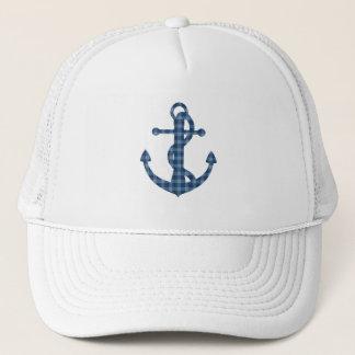 Create your own custom | Plaid tartan blue anchor Trucker Hat