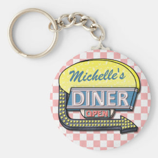 Create Your Own Custom Retro 50's Diner Sign 2 Basic Round Button Keychain