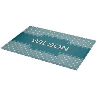 Create Your Own Custom Teal Blue Jade Polka Dots Cutting Board