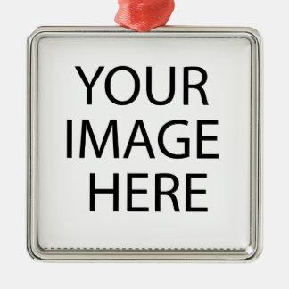 Create your own design & text Silver-Colored square ornament