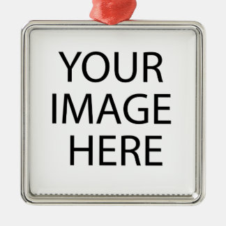 Create your own design & text :-) Silver-Colored square ornament