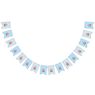 CREATE-YOUR-OWN DIY Custom upload your design blue Bunting Flags