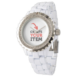 Create-your-Own DIY Rhonestone White Woman Watch