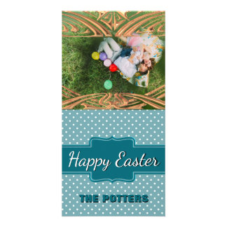 Create Your Own Easter Photo | Teal Polka Dots Personalized Photo Card