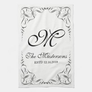 Create Your Own Elegant Graceful Wedding Monogram Kitchen Towel